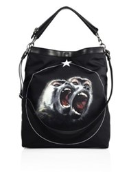 Givenchy Twin Monkey Graphic Calf Leather Trim Crossbody Bag Multi