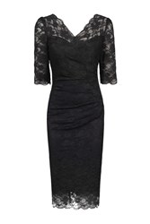 Jolie Moi 3 4 Sleeve Scalloped Lace Dress Black