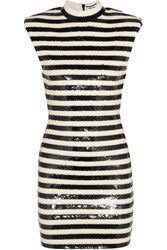 Saint Laurent Striped Sequined Satin Mini Dress Off White