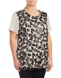 Vince Camuto Plus Short Sleeve Sequined Embroidered Blouse White Black