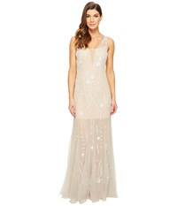 Adrianna Papell Sleeveless Plunging V Neckline Fully Beaded Mesh Illusion Gown With Godets Silver Nude Women's Dress