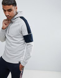Only And Sons Half Zip Hoodie With Arm Stripe Light Grey Melange