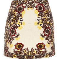 River Island Womens Cream Floral Print Jacquard Mini Skirt