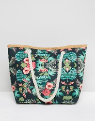 7X Tropical Floral Canvas Beach Bag With Rope Handle Multi
