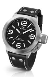 Tw Steel Men's Canteen Leather Strap Watch 45Mm Black Silver