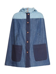 See By Chloe Patchwork Denim Hooded Cape