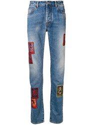 Marcelo Burlon County Of Milan Straight Leg Patch Jeans Blue