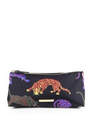 Stella Mccartney Multicolor Cat Nylon Cosmetic Case Black Multi