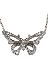Lc Estate Jewelry Collection Estate Tiffany And Co. Platinum And Diamond Butterfly Pendant Necklace