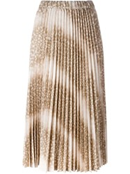 Comme Des Gara Ons Snakeskin Effect Pleated Skirt Nude And Neutrals
