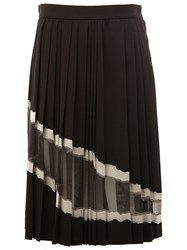 Maison Martin Margiela Sheer Panel Pleated Skirt Black