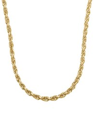Lord And Taylor 14K Yellow Gold Rope Chain Link Necklace 22In