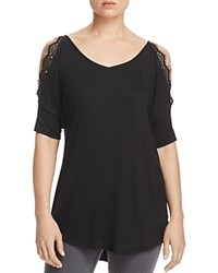 Alison Andrews Lace Trim Cold Shoulder Tunic Black
