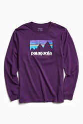 Patagonia Shop Sticker Long Sleeve Tee Purple