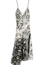 Self Portrait Nivienne Embroidered Tulle And Printed Crepe De Chine Dress Gray