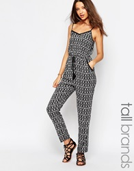 New Look Tall Monochrome Aztec Print Jumpsuit Black