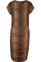 Maje Leopard Print Ruched Jersey Mini Dress Animal Print
