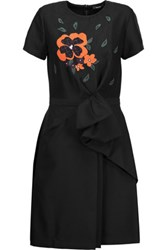 Raoul Bice Bow Wrap Effect Embroidered Mesh Paneled Crepe Dress Black