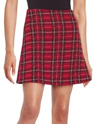Design Lab Lord And Taylor Plaid Skater Skirt Red Brick