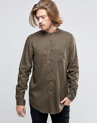 Asos Military Shirt In Khaki Drape Fabric With Grandad Collar In Longline Khaki Green