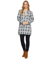 Dylan By True Grit Jessie Tunic Flannel Plaid 100 Yarn Dye Denim Women's Long Sleeve Pullover Blue