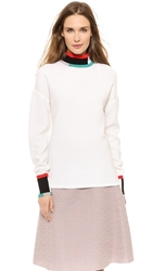 Derek Lam Colorblock Turtleneck Sweater White