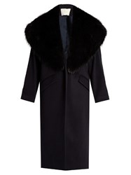 Adam By Adam Lippes Fur Lapel Wool And Cashmere Blend Coat Navy