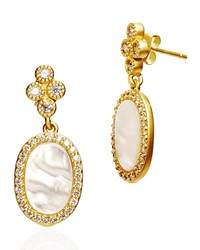 Freida Rothman Color Theory Pave Oval Drop Earrings Gold