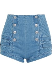 Balmain Pierre Button Detailed Quilted Stretch Denim Shorts Indigo