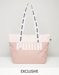 Puma Exclusive To Asos Shopper Bag With Tapered Handles Woodrose Pink
