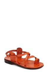 Women's Jerusalem Sandals 'The Good Shepard' Strappy Sandal Orange Leather