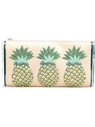 Edie Parker Pineapples Embroidery Clutch Nude And Neutrals