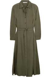 Diane Von Furstenberg Clarise Silk Blend Shirt Dress Army Green