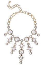 Elizabeth Cole 24 Karat Gold Plated Crystal And Faux Pearl Choker White
