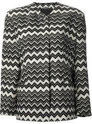 Gianni Versace Vintage Zig Zag Patterned Jacket Black