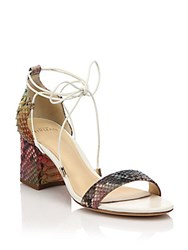 Alexandre Birman Rainbow Python Lace Up Mid Heel Sandals White