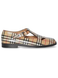 Burberry Vintage Check Leather T Bar Shoes Brown