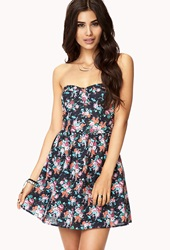 Forever 21 Garden Party Bustier Dress Navy Coral