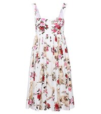 Dolce And Gabbana Floral Printed Cotton Dress White