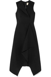 Dion Lee Folded Sail Draped Stretch Cady Midi Dress Black