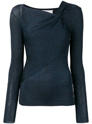 3.1 Phillip Lim Long Sleeve Draped Pullover Blue