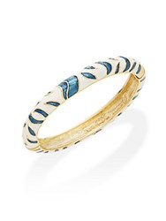 Kenneth Jay Lane Couture Collection Tiger Striped Bracelet White Royal Blue