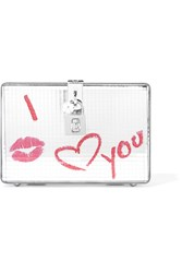 Dolce And Gabbana Printed Metallic Leather Box Clutch Silver