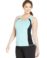 Ideology Plus Size Colorblocked Racerback Tank Top Crystal Mist