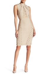Wow Couture Lace Up Bandage Dress Beige