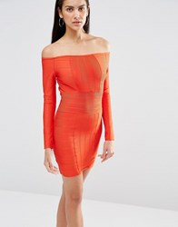 Missguided Bardot Bandage Bodycon Dess Red