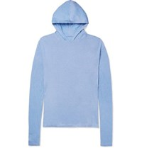 The Elder Statesman Cotton And Cashmere Blend Hoodie Blue