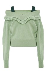 Burberry Cashmere Off The Shoulder Sweater Green