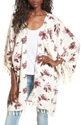 David And Young Women's Tassel Floral Ruana