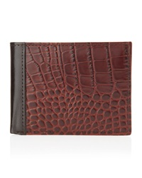 Neiman Marcus Two Fold Embossed Pass Wallet Brown